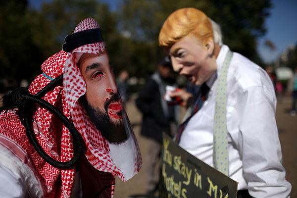 اعتراض به قتل خاشقجی مقابل کاخ سفید