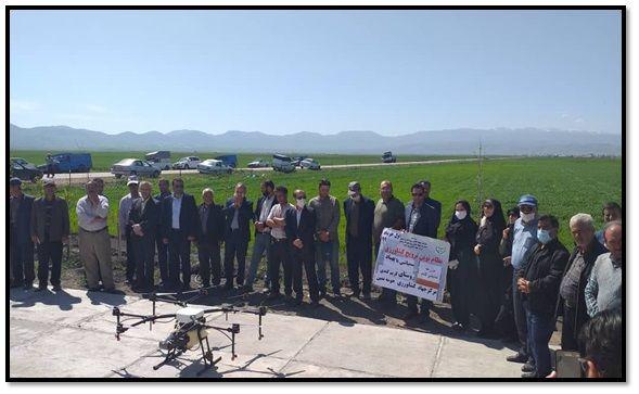 عملیات سمپاشی بیش از 10 هکتار از مزارع غلات شهرستان نمین توسط پهپاد
