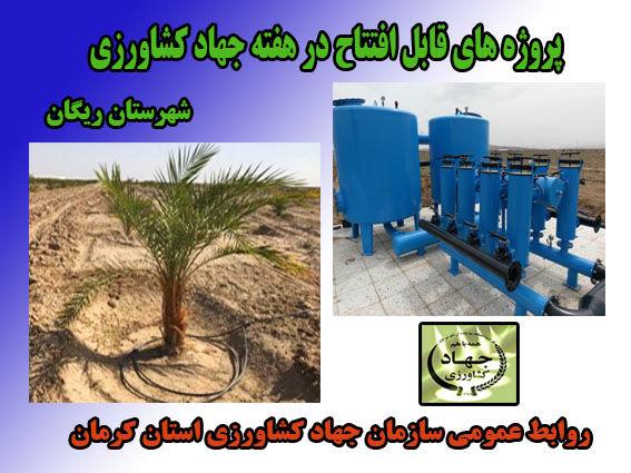 یک طرح آب و خاک در شهرستان ریگان در هفته جهاد کشاورزی به بهره برداری می رسد.
