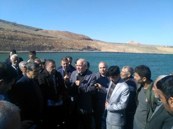 افتتاح پروژه استخر ذخیره آب کشاورزی روستای بدرانلو در خراسان شمالی