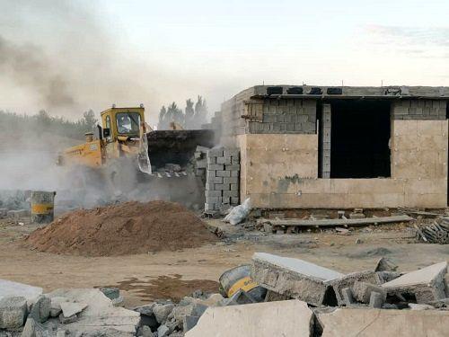 تخریب ساخت و ساز های غیر مجاز در منطقه رودبال سپیدان