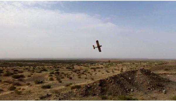 پرواز هواپیما برای زمین گیرکردن لشکر ملخ ها